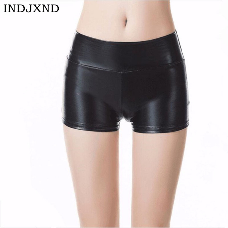 INDJXND Women Summer Fashion Central Waist   Shorts   Slim Night Club Stage Outfit Sexy Skintight Hot PU Leather   Shorts   Punk Rock