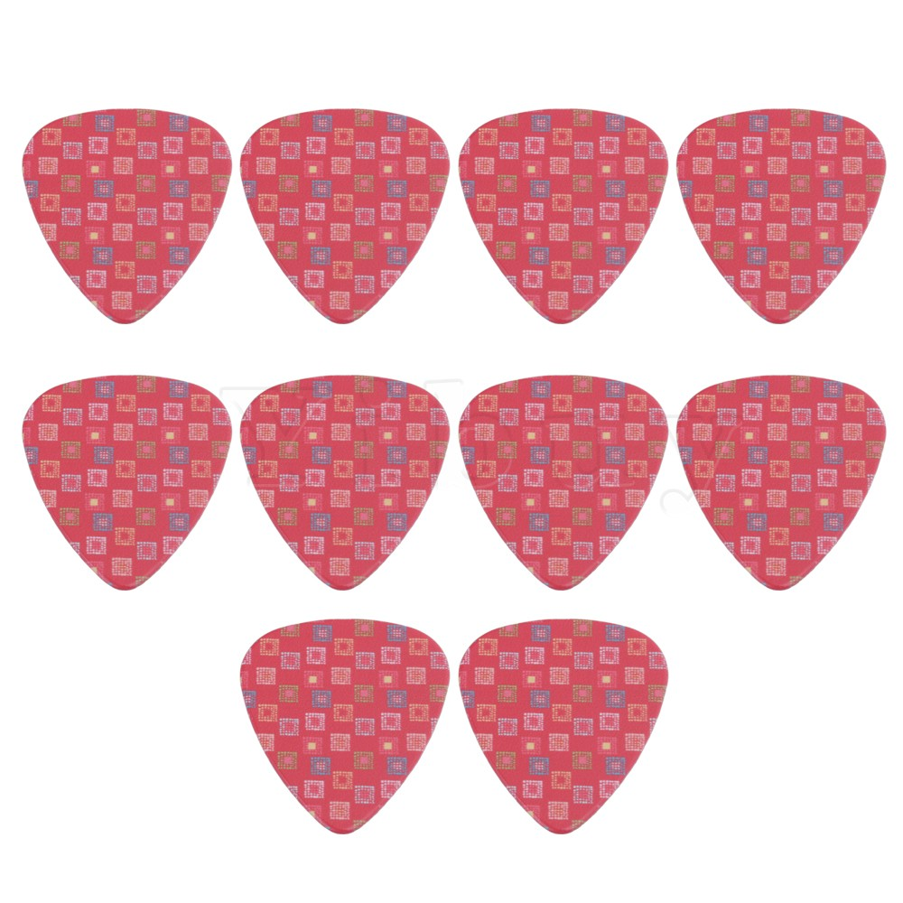 10PCS 0.71mm Thickness Pink Grid Pattern Electric Acoustic Guitar Plastic Guitar Picks Yibuy