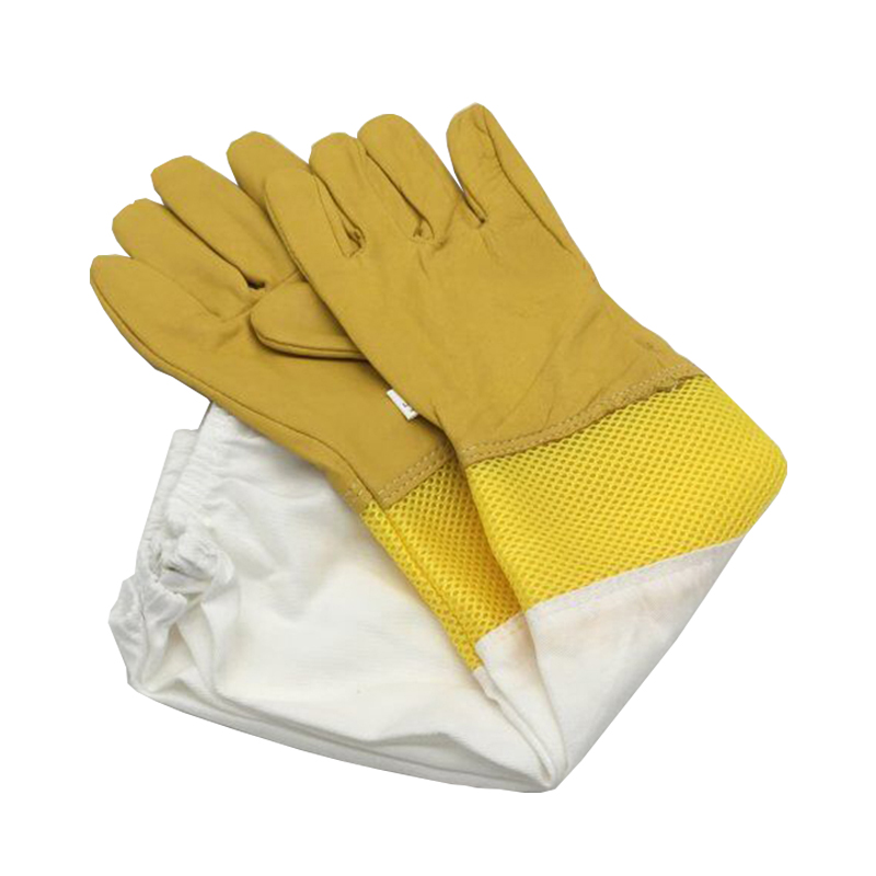 Free Shipping A Pair Of Protective Beekeeping Gloves Goatskin Bee Keeping Vented Long Sleeves Beekeeping Equipment And Tools
