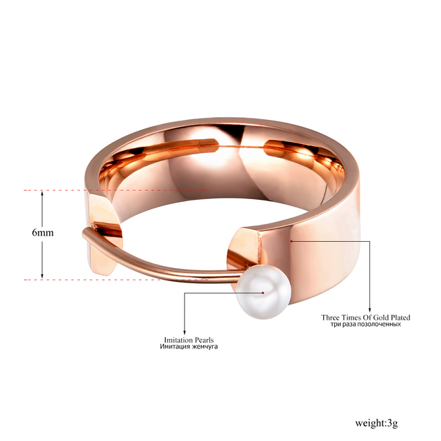 Lokaer Original Design Simulated Pearl Rose Gold Color Ring Jewelry Titanium Steel Engagement Wedding Rings Bague R171420333R