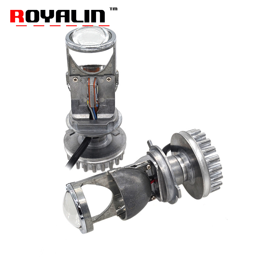 ROYALIN Bi LED Projector Lens H4 Mini 1.5 inch Car Styling Headlight Lens Hi/Lo Beam Super Brightness 60W White 5000K 6000K DIY 60w 6000lm h4 led light headlight vehicle car hi lo beam bulb kit 6000k white fe9