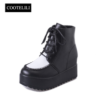 COOTELILI פלטפורמת עקבים גבוהים מגפוני נשים עור PU תחרה עד גודל שחור אישה נעלי הגדלת גובה Botas Mujer 35-39