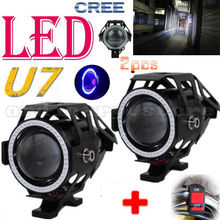 2PCS 125W U7 LED Spotlight Motorcycle Headlight Driving Fog Light Spot Lamp W/ Blue Angel Eye Halo Ring + Switch