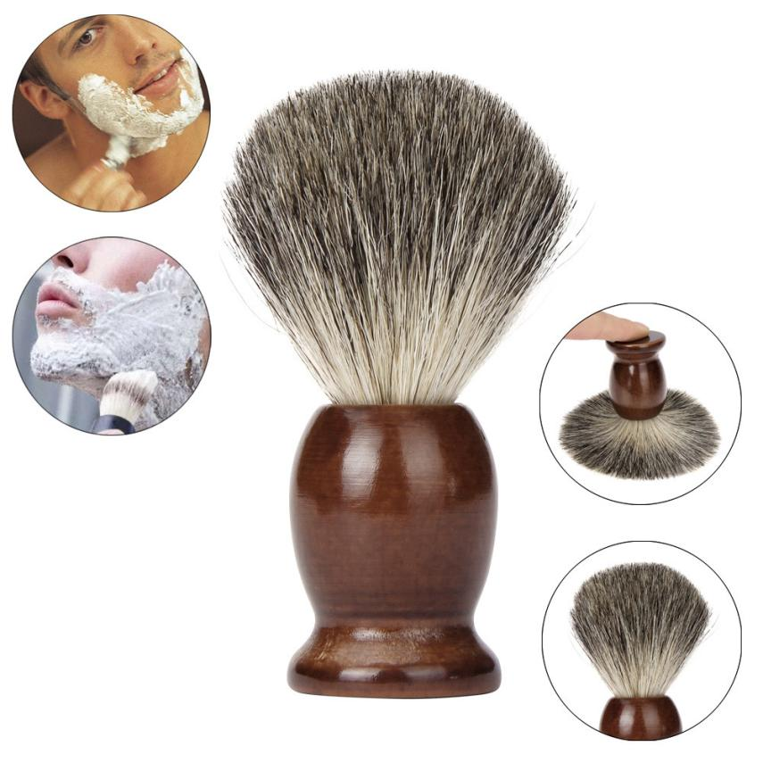 1PCS ZY 100% Pure Badger Hair Wet Shaving Brush Tool Shave Men Salon Barber Tool Brown Ny Gratis Frakt Partihandel Dec 29