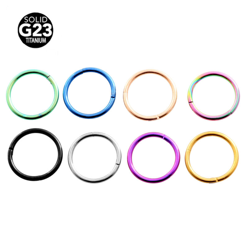 Hinged Segment Ring Titanium G23 Nose Piercing Labret Lip Nipple Septum Tragus Cartilage Clicker Body Jewelry