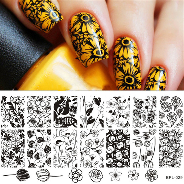 BP-L029 Flower Theme Nail Art Stamp Template Image Plate Rctangular Stamping PLates BORN PRETTY 12 x 6cm