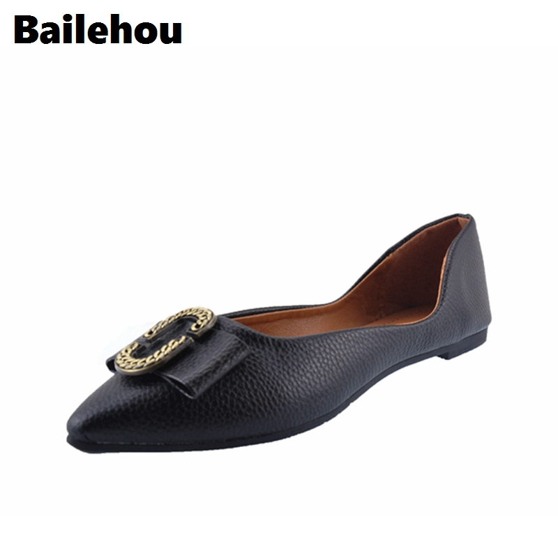 Bailehou Fashion Women Flats Shoes Slip On Loafers Bow Pointed Toe Flat Ballet Shoes Soft Moccasins Metal Buckle Shallow Shoes pu pointed toe flats with eyelet strap