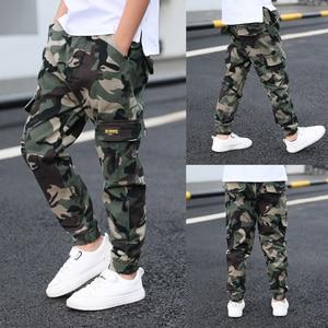 Image 4 - Pantalones de camuflaje para niños de 4 a 15 años, Pantalón cargo multibolsillos, versátil, a la moda, para verano