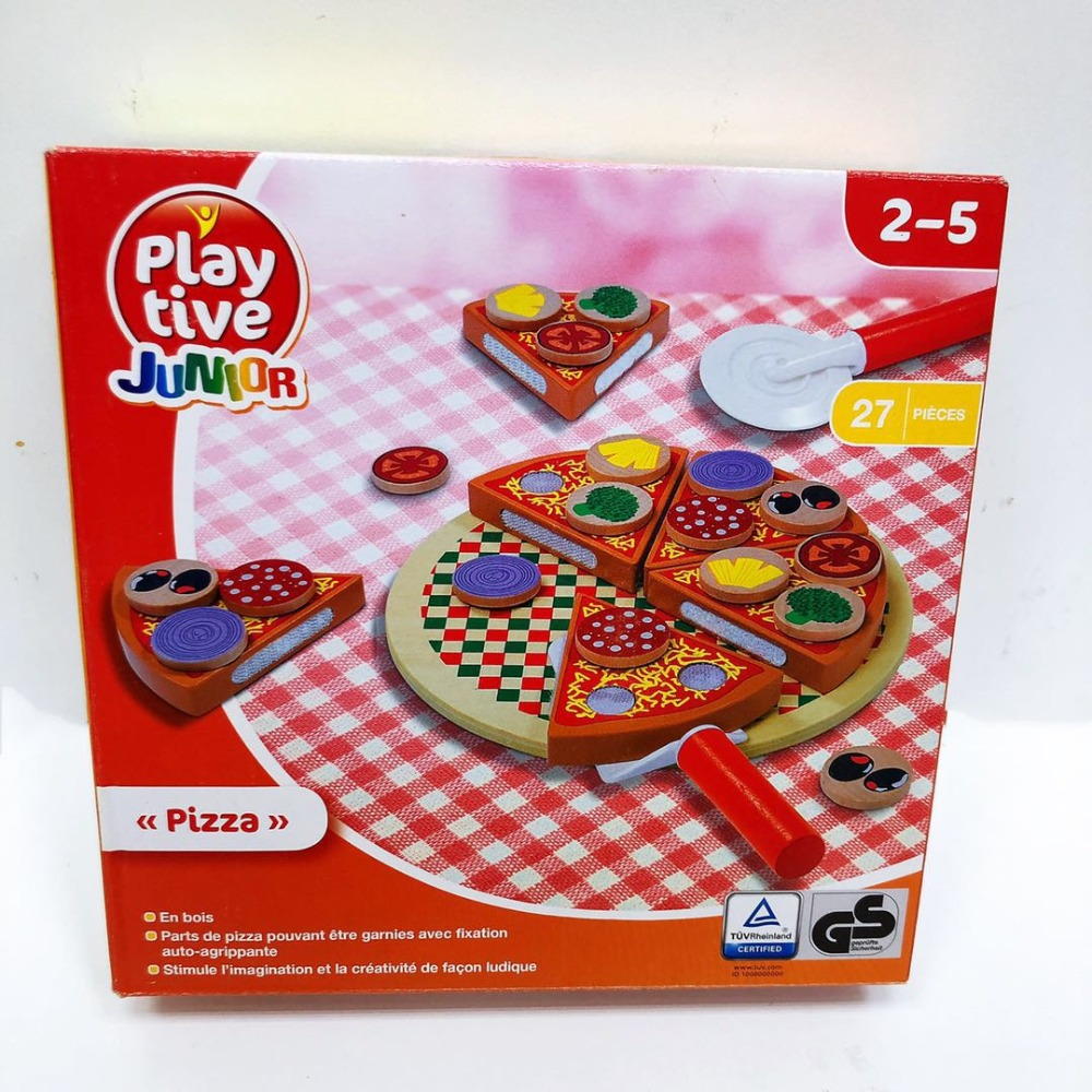 27Pcs Montessori Wooden Pizza Fruit Slices Kitchen Pretend Play Toys For Kids Learning Education Cutting Tableware Child Gift