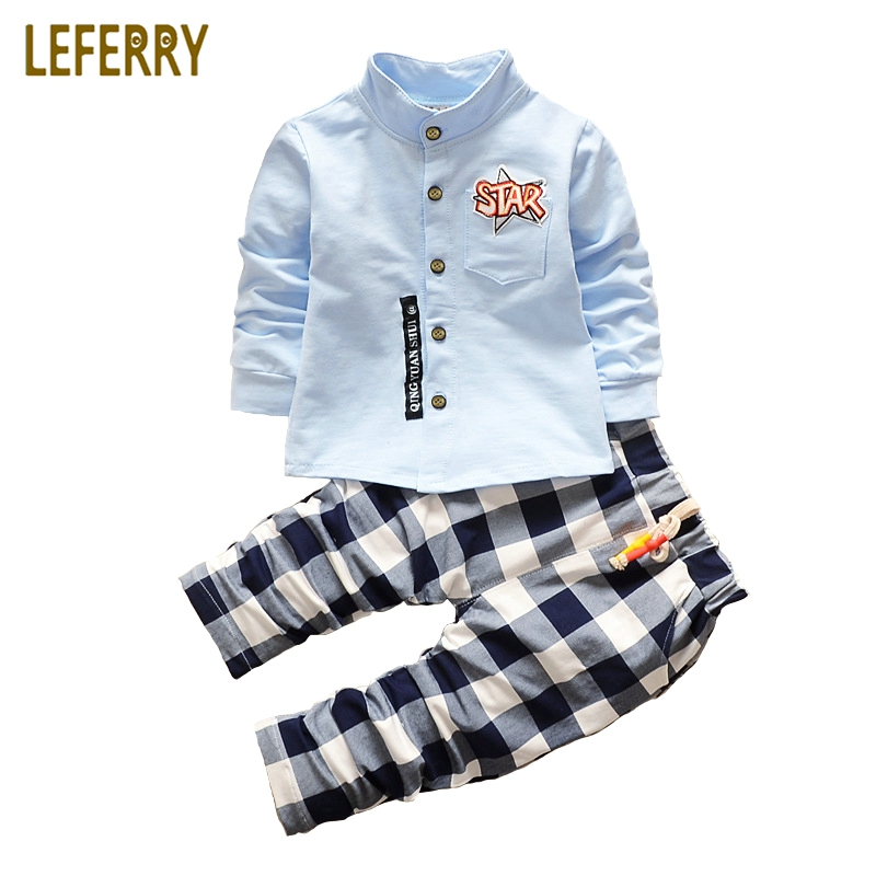 Kids Clothes Toddler Boys Clothing set 2pcs Cotton Shirt + Plaid Trousers Baby Boys Clothing Sets Children Suits New Fashion fashion baby girl t shirt set cotton heart print shirt hole denim cropped trousers casual polka dot children clothing set
