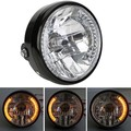 "7"" MOTORCYCLE HEADLIGHT PROJECTOR FOR HARLEY BOBBER Dyna YELLOW LED TURN SIGNAL"