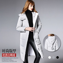 BURDULLY 2017 New Longer Section Nagymaros Collar Knee Thick Warm Coat Big Yards Down Jacket Women