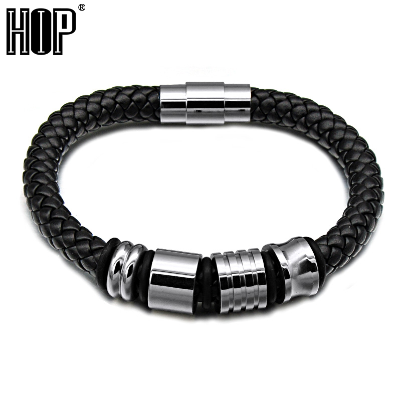 HIP Mens Black Braided Geunine Leather Bracelet Gold Stainless Steel Beads Bracelets Bangles for Men Jewelry friendship Git ...