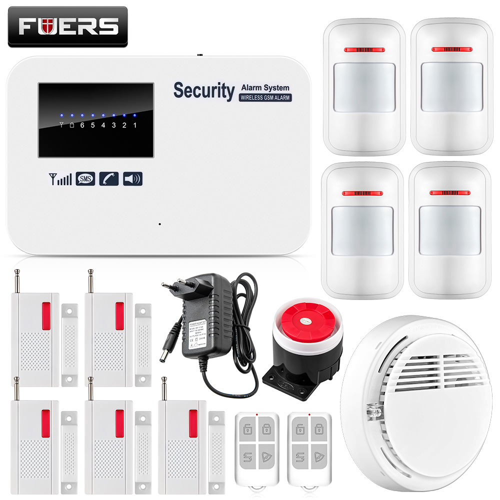 Fuers Timing Arm Disarm IOS Android APP Control Auto Dial GSM Home Security Smart Alarm System English Russian Manual Spanish fuers smart app control wireless wired home gsm sms security alarm system auto dial with infrared detector door open reminder