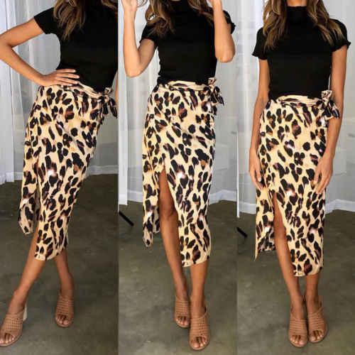 2475151e6e86b0 ... Fashion Women Chiffon High Waist Summer Beach Long Maxi Skirts Leopard  Split Leopard Print Skirt ...