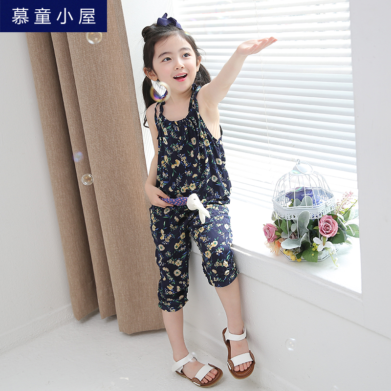 Brand summer flowers print beach sleeveless tops and pants Children clothing set for girls 2 3 4 5 6 7 8 years old Girls clothes girls clothes 2017 autumn spring new fashion brand children s clothing for 2 3 4 5 6 7 8 9 10 years old kids tops tee and pants