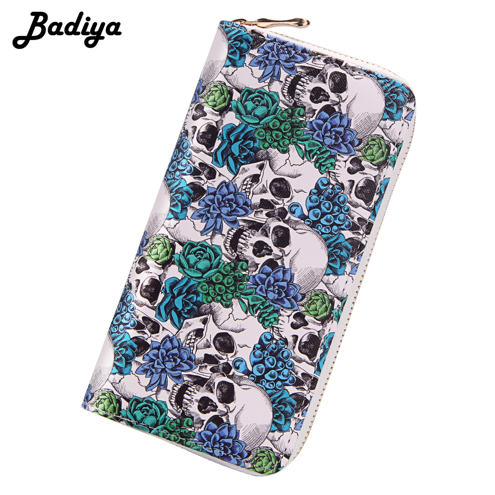 Halloween Punk Skulls Print Long Women Wallet Large Capacity Clutch Purse Card Holder PU Leather Zipper Lady Cosplay Handbags