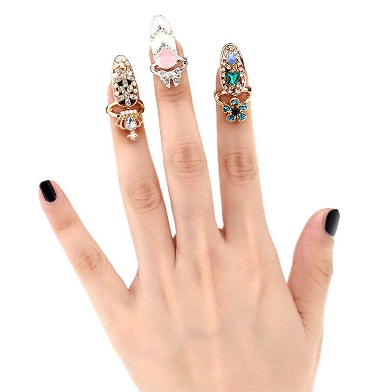 Fashion Rhinestone Cute Bowknot Finger Nail Ring Charm Crown Flower ...