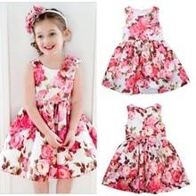 Princess Kid Girls Sleeveless One Piece Dress Floral Party Tutu Dress Sundress