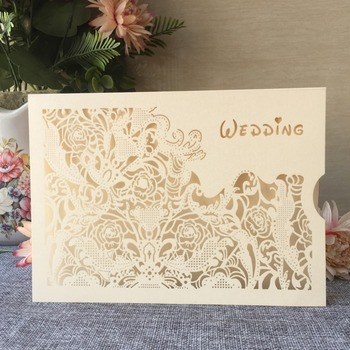 100pcs/lot Customizable Wedding Invitations Laser Cut Wedding Card Romantic Wedding Decorations Gift Card For Guests