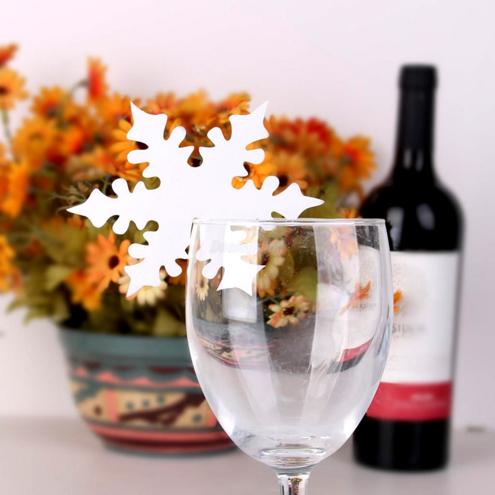 Snow Leaf Shape Paper Crafts Snowflake Place Name Cards for Glass Wine Beer Christmas Winter Wedding