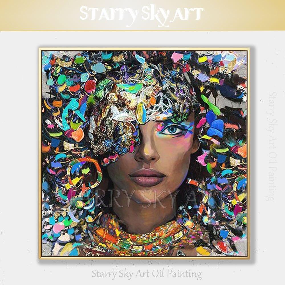 Moda Colori Artista dipinto A mano di Alta Qualità Nero Donna Ritratto Dipinto Ad Olio su Tela Bella Donna Nera Pittura A Olio