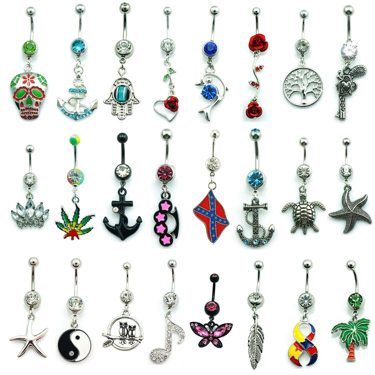 Brand New Mix Sale Fashion Belly Button Rings Surgical -7515