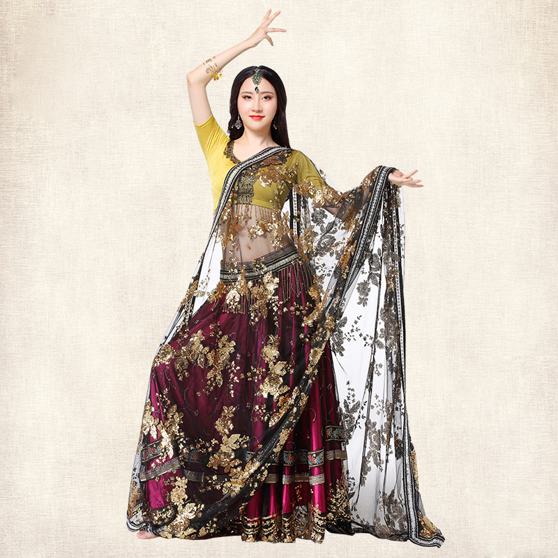 New Arrival Bollywood Dance Costume Set Indian Sari Dress Belly Dance Costume Top Hip Sc ...