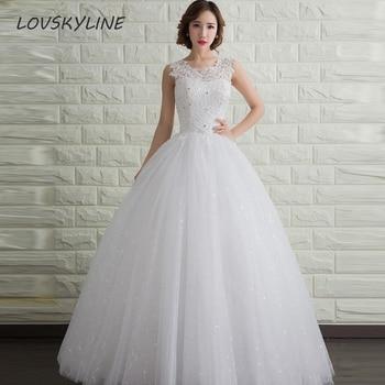 Sleeveless Lace UP Back Beaded Ivory Wedding Dress Vestidos De Noiva Lace Tulle China Bridal Gowns