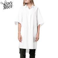 HDY Haoduoyi Summer Fashion Women Shirts Solid White Short Sleeve Loose High Low Single Button Tops