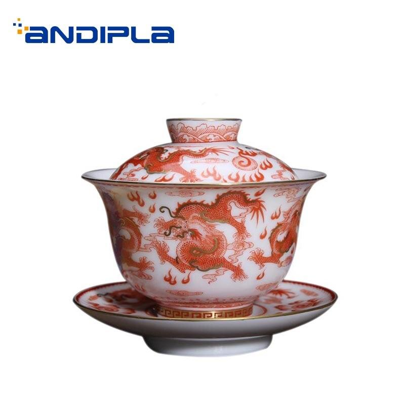 160 ml Jingdezhen Gaiwan porcelaine Drinkware Teaware peint à la main Dragon motif Noble bol à thé décor à la maison Collection soupière à thé