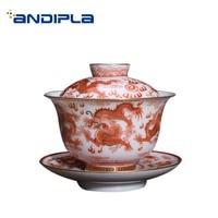 160ml Jingdezhen Gaiwan Porcelain Drinkware Teaware Hand Painted Dragon Pattern Noble Tea Bowl Home Decor Collection Tea Tureen