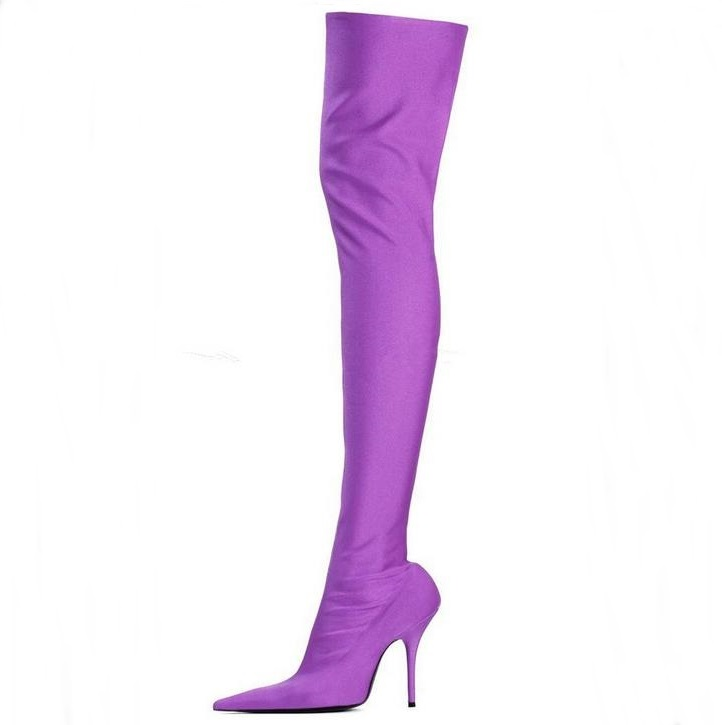Purple Satin Sock Thigh High Boots Women Pointed Toe Flower Print Leather Over Knee Boots Womens Slip-on Stretch Thigh Boots