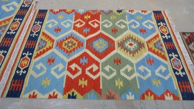 Wool Hand Woven Bright Blue Sky Kilim Carpet Rug Anatolia Turkish Ethnic Pattern Mat