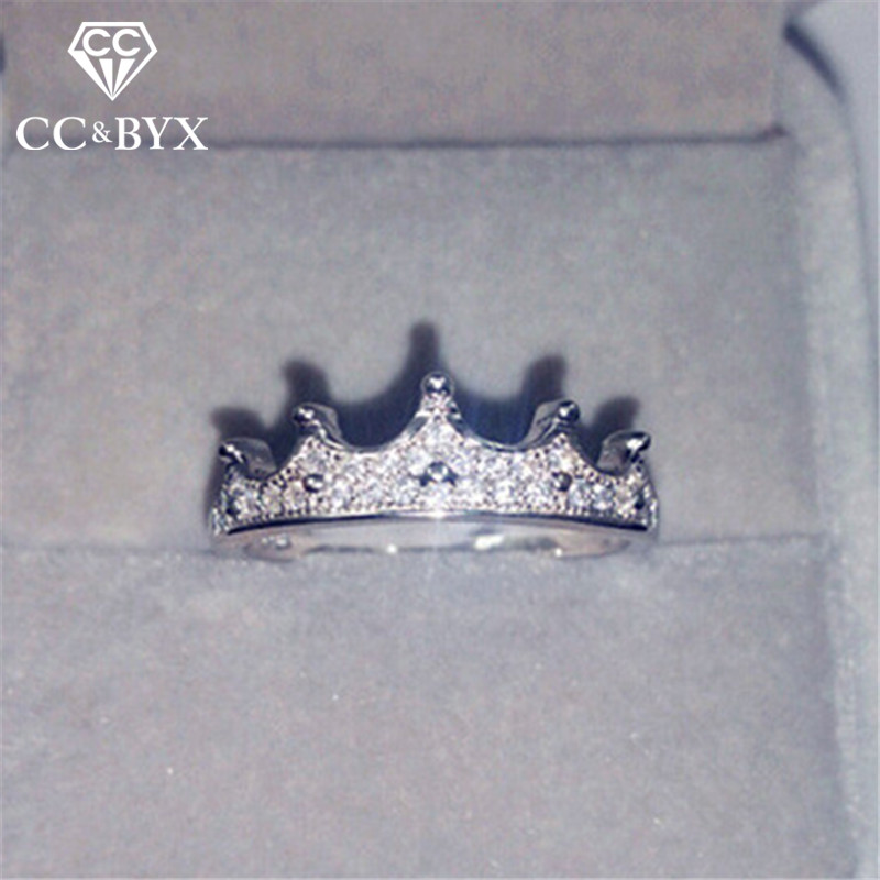 CC Crown Silver Rings For Women Baroque Gothic Cubic Zirconia Luxury Princess Queen Anel Jewelry Bridal Wedding Anillos CC1463