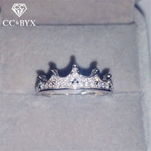 CC Crown Silver Rings For Women Baroque Gothic Cubic Zirconia Luxury Princess Queen Anel Jewelry Bridal Wedding Anillos CC1463(China)