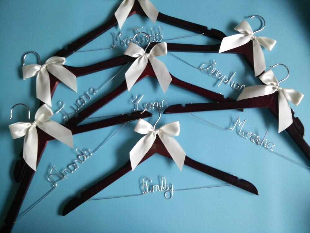Livraison gratuite 7 Personnalisé De Mariage Cintre, cadeaux de demoiselle d'honneur, nom cintre, mariées cintre mariée cadeau