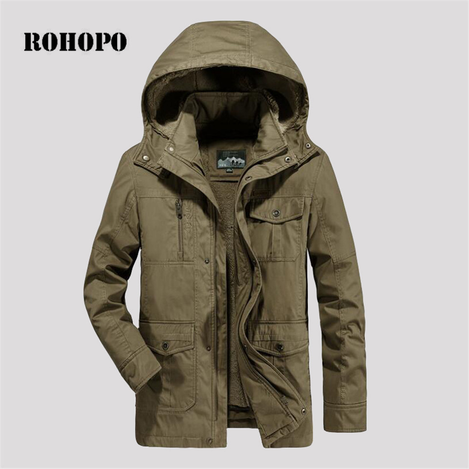 ROHOPO   Parka   Detachable hat and inner winter man militar overcoat loose cotton made cashmere lining straight field working coat