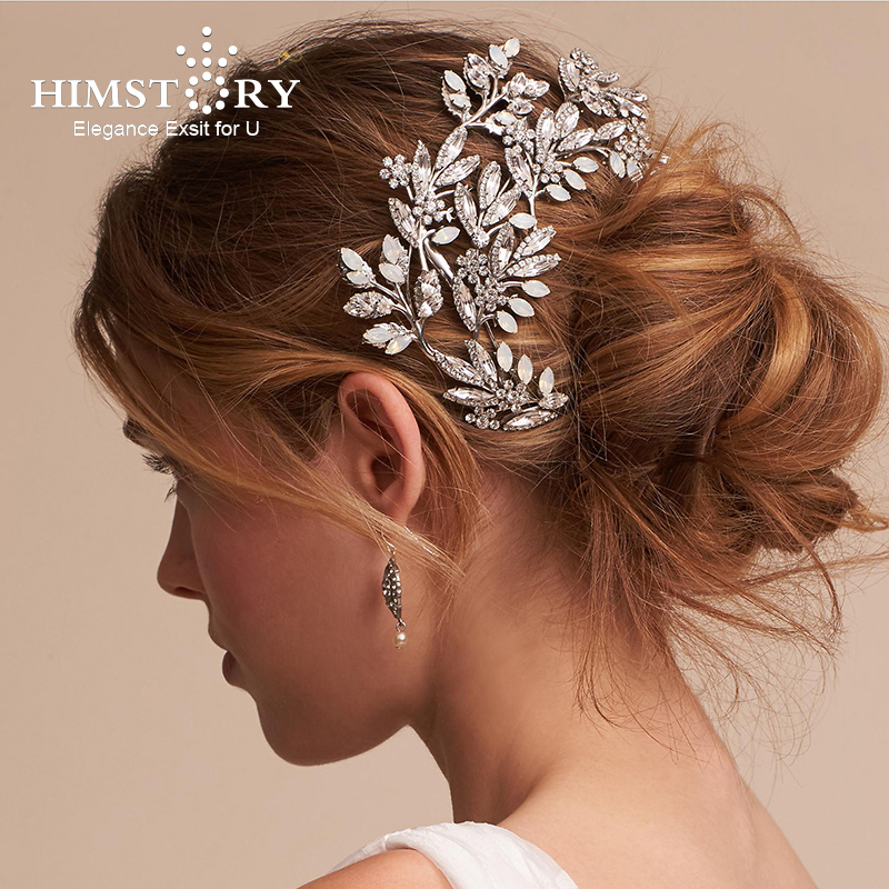 Himstory Opal Rhinestone Wedding Hair Accessory Bridal Hair Accessories Jewellery Romantic Stone Flower Fairy Hairwear Headpiece alloy leaf flower hair accessory