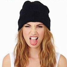 Winter Hat Warm Unisex Knitting Women Men Wool Fluorescence Color Outdoors Solid Elastic Beanie Hats Cap Female