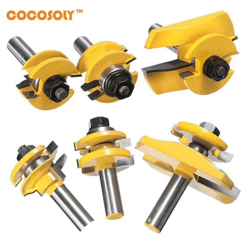 Cocosoly 3pcs/set 1/2'' Shank Door Panel Cutter Tool Woodworking Cabinet Router Bits Set Power Tools 3pcs set bit raised panel cabinet door router bit set 1 2 inch milling cutter for woodworking cutter cutting power tools