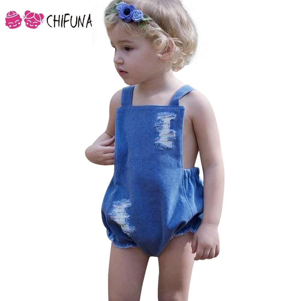 chifuna 2017 New Fashion Baby Romper Ripped Belt Denim Jumpsuit - Babykläder