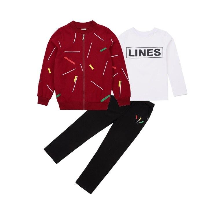 roupas meninos esportes camisola 3 peças conjuntos