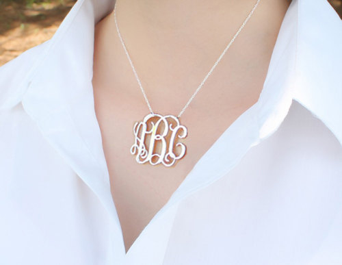 2 Inch Big Monogram Name font b Necklace b font Personalized 3 Initial Large Pendant Custom