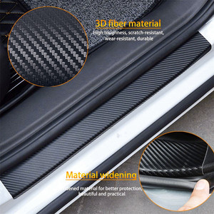 Image 2 - Placa de puerta de fibra de carbono para coche pegatinas antiarañazos para Toyota Corolla, Seat Leon, Jeep, Fiat, Skoda, Fabia, Rapid Renault, plumero, 4 Uds.