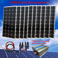 1000W Solar Panel Plate Sunpower Monocrystalline Silicon Cell Module Kit 10X100W Solar Panel with 1000W AC110V grid tie inverter