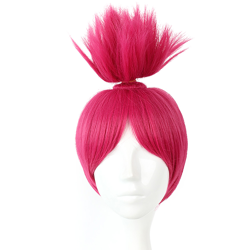 Trolls Poppy Cosplay Fantastic Cool Hot Pink Hair Up Trolls Princess Poppy Adult Kids Fancy Dress Accessories Party Supplies