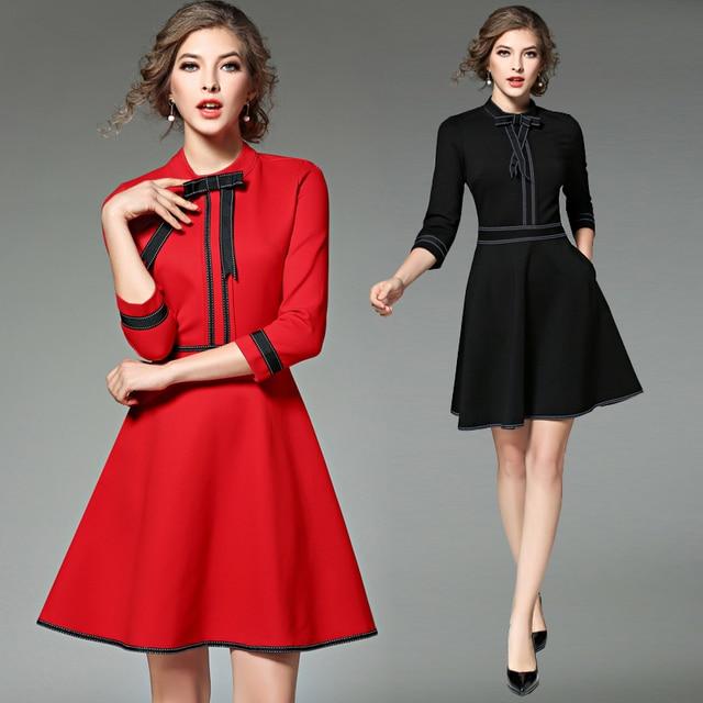 Осень 2017 г. и Новинка зимы Для женщин Парадное, тонкое аристократической темперамент моды красные, черные дна работа платье Женский Тонкий платье
