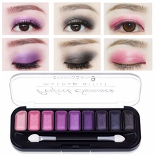 Perfect Summer 4Pcs  Eye Shadow Palette 9 Color Makeup Matte Shimmer Eyeshadow with Eye Brush Professional Classic Black White