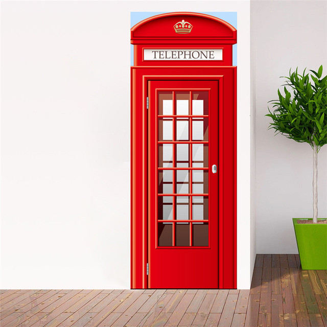 Lovely Pet Door Fridge Sticker London Telephone Box Phone Booth Mural Stickers Home Decoration Drop Shipping